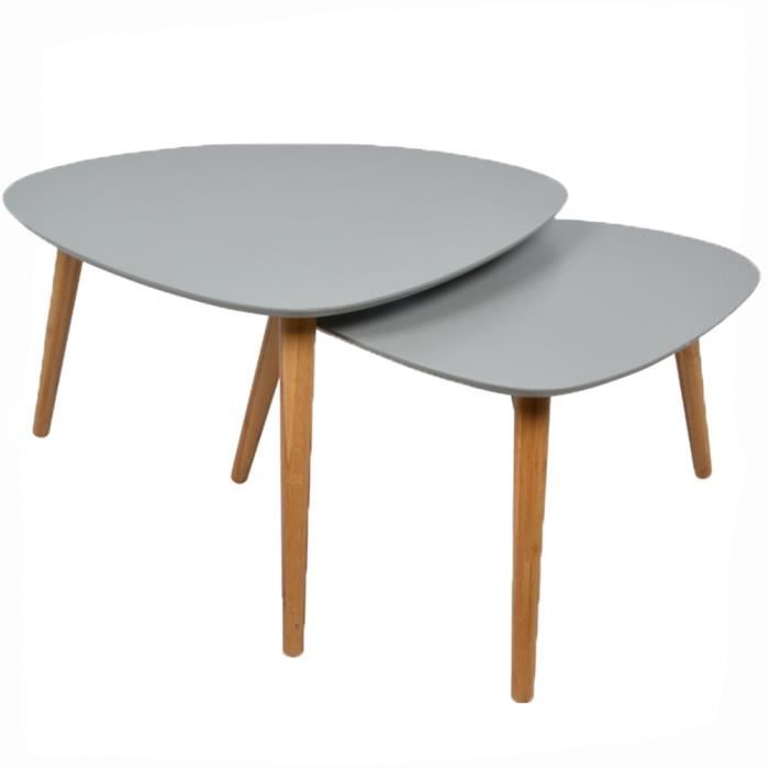 2 tables basses gigognes grises Lagan - Achat / Vente table basse 2 ...