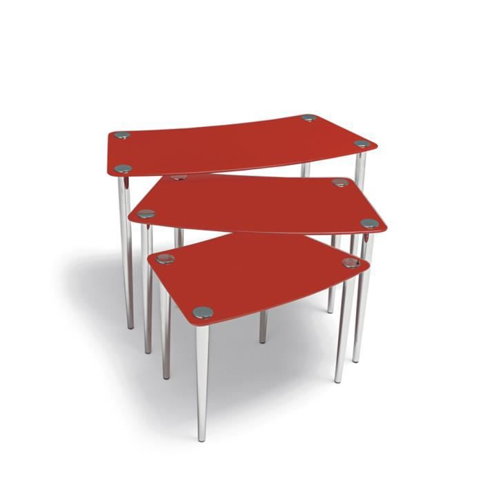 lot de 3 tables gigognes en verre rouge achat vente. Black Bedroom Furniture Sets. Home Design Ideas