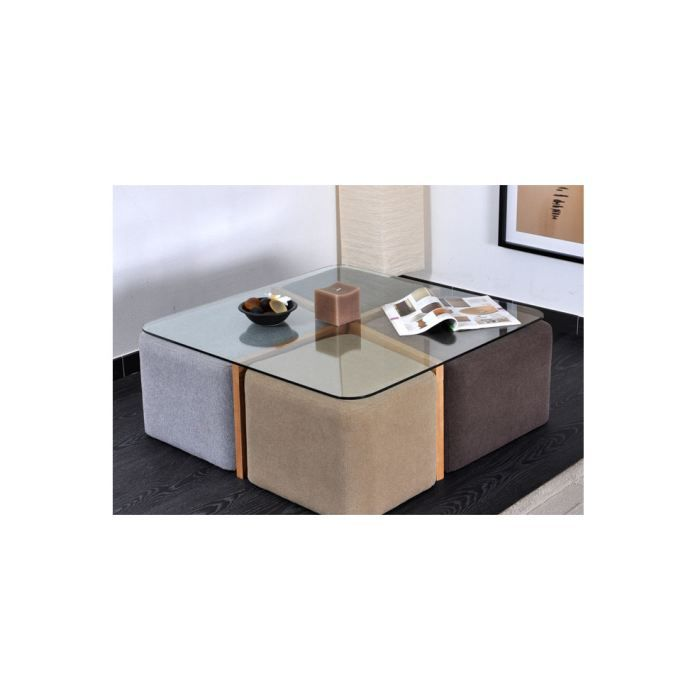 Table Basse Terra 4 Poufs Achat Vente Table Basse