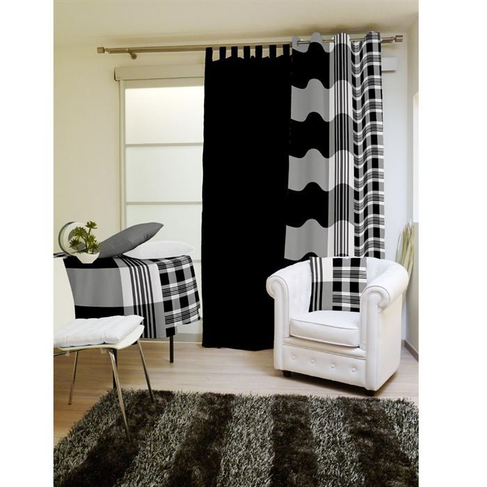 rideaux design noir et blanc maison design. Black Bedroom Furniture Sets. Home Design Ideas