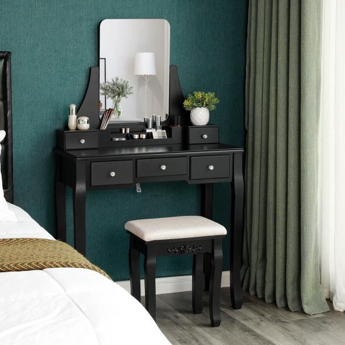 Generic et Desk Ensemble Tabouret avec Table et Bureau Noir avec Miroir Pliant et tiroirs