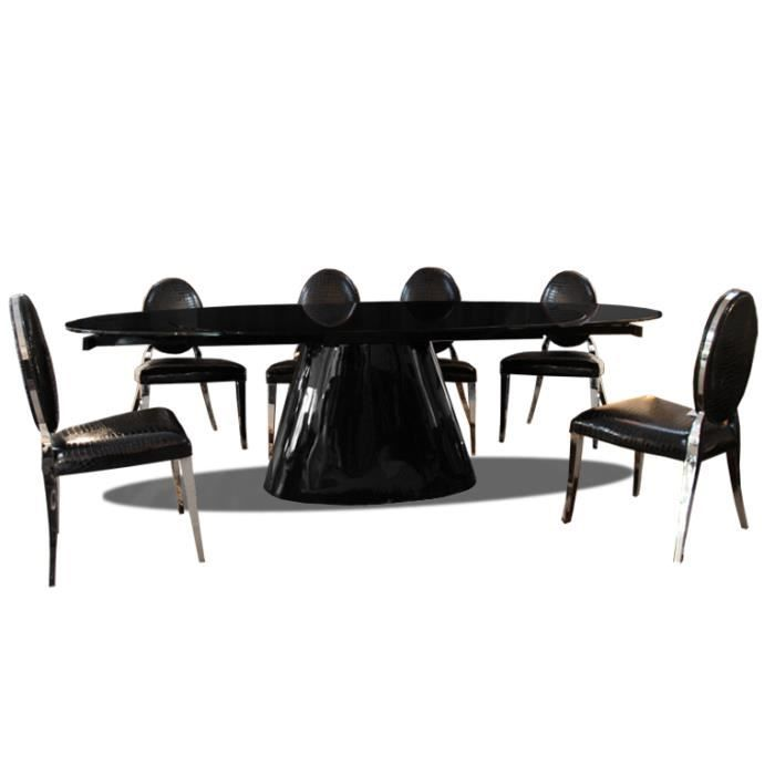 table de salle manger en verre ovale avec rallonges macaria achat vente table manger. Black Bedroom Furniture Sets. Home Design Ideas