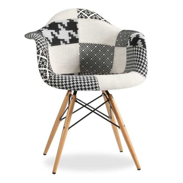 Chaise wooden arms patchwork edition pepy noir et blanc noir et blanc unica achat vente for Chaise patchwork