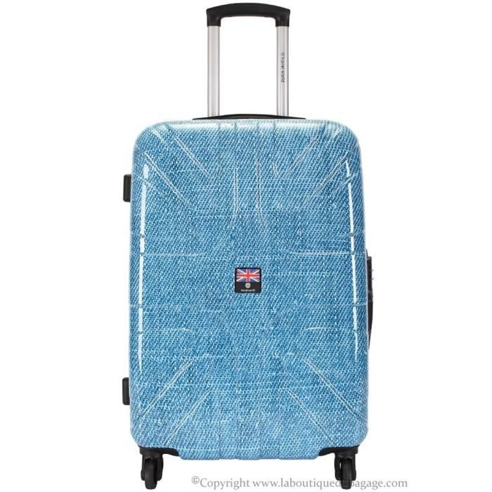 travel world valise rigide moyen s jour abk bleu jeans bleu achat vente valise bagage. Black Bedroom Furniture Sets. Home Design Ideas