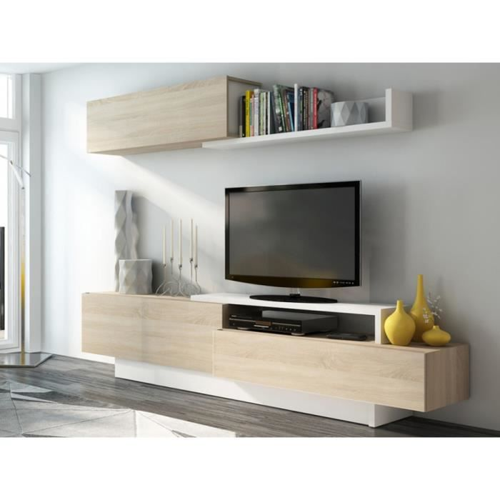 mur tv monty avec rangements blanc ch ne achat vente meuble tv mur tv monty avec. Black Bedroom Furniture Sets. Home Design Ideas