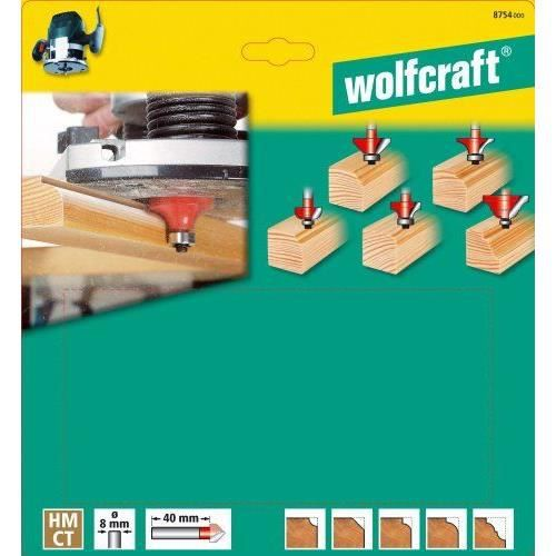 Ws,... Wolfcraft 1002000 1 Coffret de 5 Fraises D/'encastrement Longueur 90mm