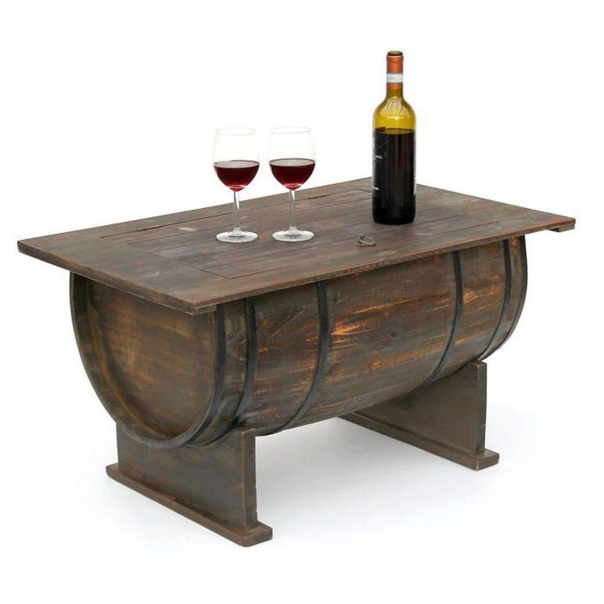 Meuble En Tonneau De Vin dandibo table de salon tonneau de vin 5084 table en bois etagère à vin 80  cm table d'appoint vin bar