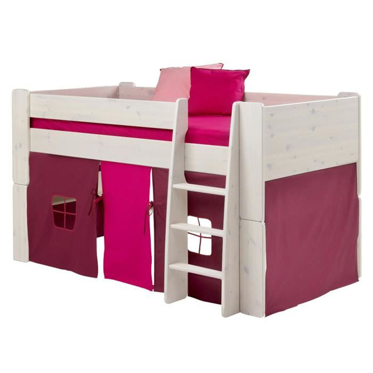 lit mi hauteur en mdf avec habillage de lit rose violet. Black Bedroom Furniture Sets. Home Design Ideas