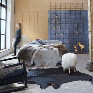 TAPIS LIA Tapis en peau de vache véritable Noir 150 x 17