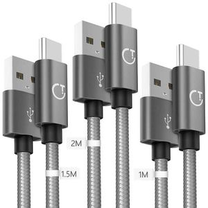 CÂBLE TÉLÉPHONE Câble USB C[1m+1.5m+2m/Lot de 3],Gritin Câble USB