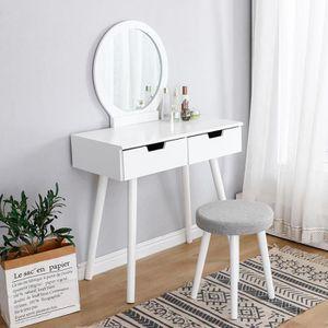 COIFFEUSE WISS Coiffeuse Design scandinave Blanc Avec un tab