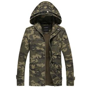 Imperméable - Trench Hooded Trench à capuche Homme Camouflage Windproof