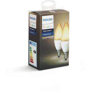 AMPOULE INTELLIGENTE PHILIPS HUE Pack de 2 ampoules White Ambiance flam