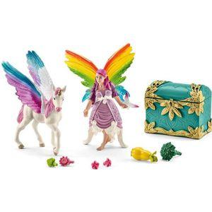 FIGURINE - PERSONNAGE Figurines Lis l'elfe arc-en-ciel avec bébé licorne