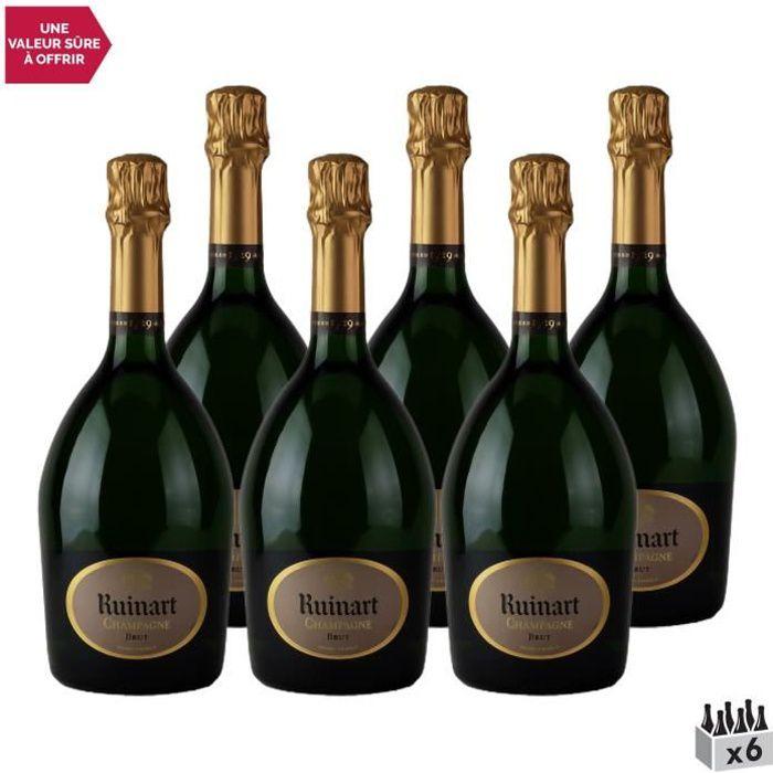 Champagne R de Ruinart Brut Blanc - Lot de 6x75cl - Champagne Ruinart - Cépages Chardonnay, Pinot Noir, Pinot Meunier