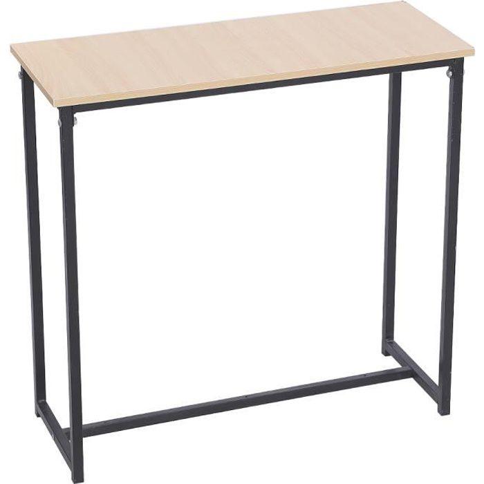 WISS Table MANGE-DEBOUT design industriel en bois et métal 80*30*80cm