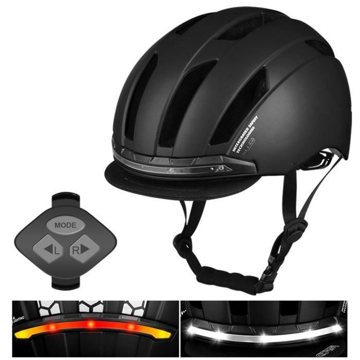 Casque de vélo avec clignotant à LED, casque de cyclisme, casque d'avertissement d'équitation de nuit Noir M