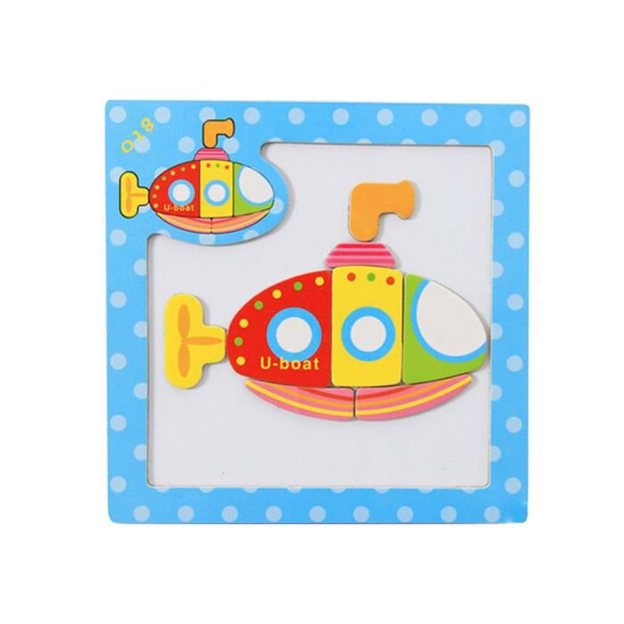Bois Jeux Jouets Magnet Puzzle Enfants,Sous-marin allemand
