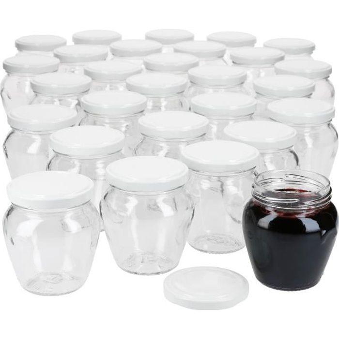 Lot de 75 pots de confiture 212 ml + couvercle amovible TO 63 blanc I pots de conservation à remplir de miel, confiture & gelée I