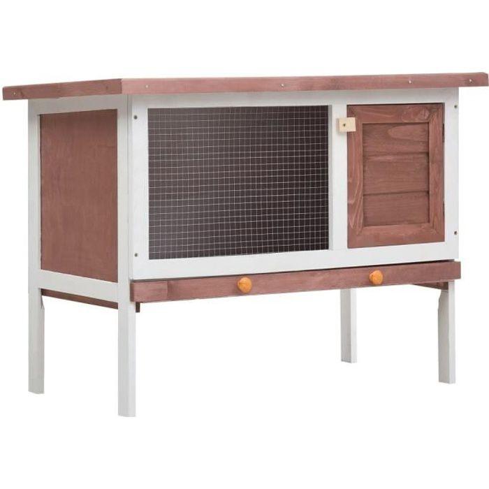 Clapier d'extérieur Enclos poulailler 90 x 45 x 65 cm- Parc Cage lapin Extérieur - 1 niveau Marron Bois