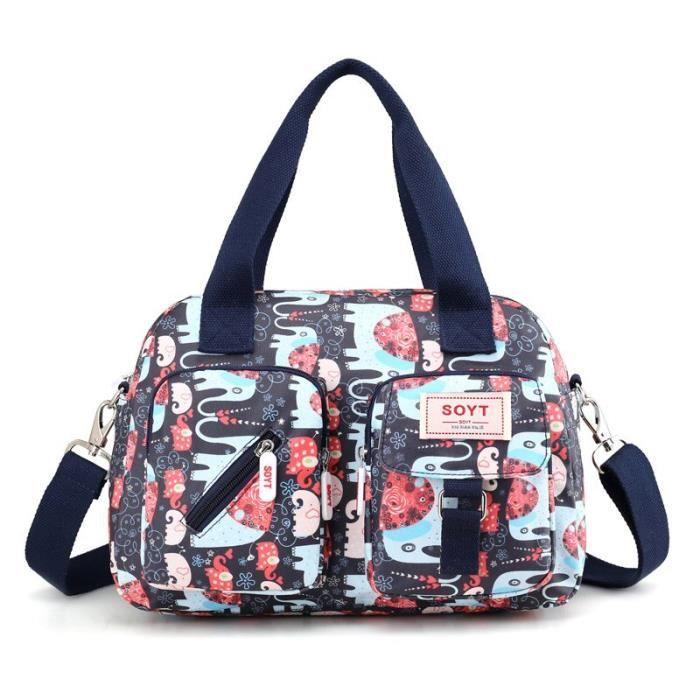 Animal pattern -SOYT – sacs à main en Nylon pour femmes, sacoche à épaule avec impression de fleurs et d'animaux, nouvelle collec