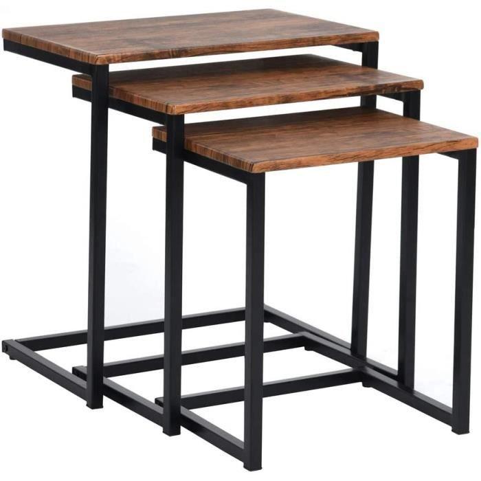 TABLE BASSE MEUBLE COSY Table Gigogne Bois et Metal, Table Basse Design Bois en Lot de 3, Petite Table Basse Gigogne Scandinave,16