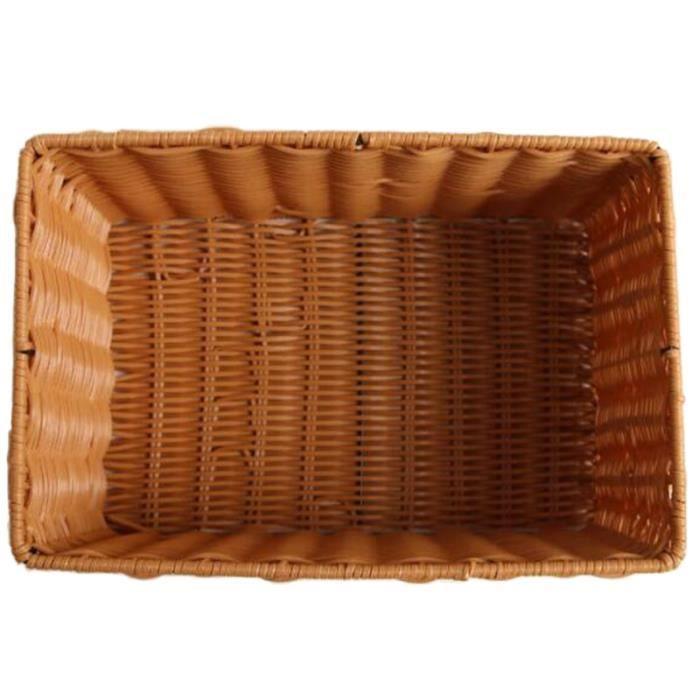 Moules,Panier à pain en osier, panier de rangement en jonc de mer rectangulaire fait à la main, panier de rangement en-Type Brown #D