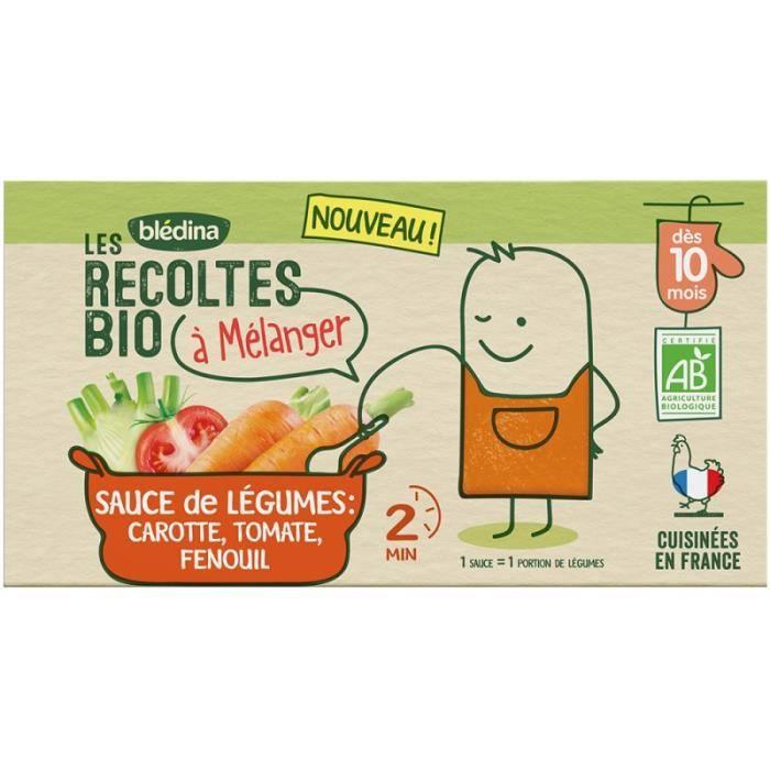 BLEDINA Les récoltes Bio à mélanger - Sauce Carotte, Tomate, Fenouil