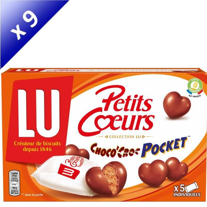 Lot de 9 LU Petits CŒurs Choco'Croc Pocket