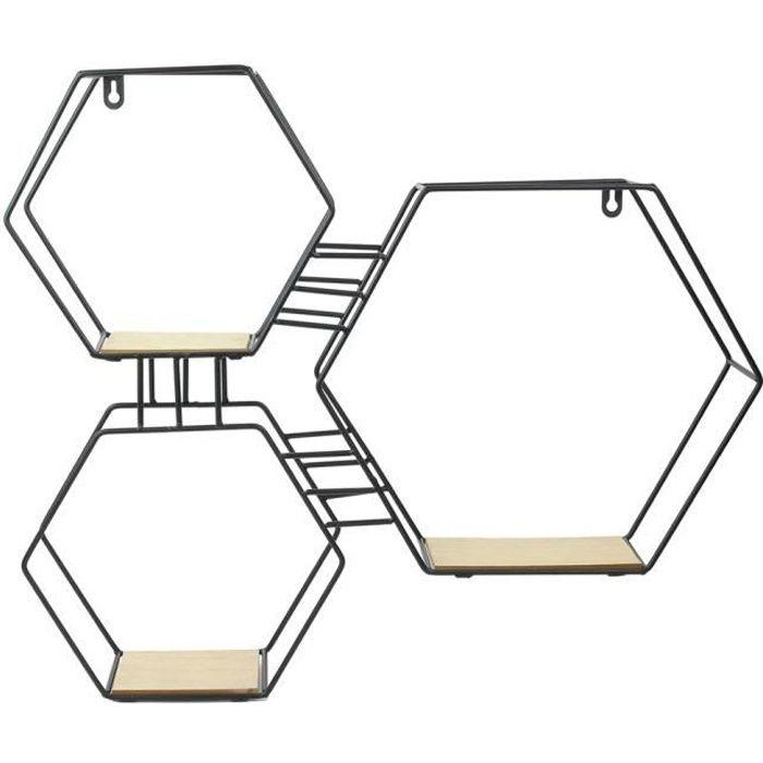 THE HOME DECO FACTORY Etagère 3 en 1 - Bois Metal Hexagonal - 48X10X55 cm - Beige/Noir