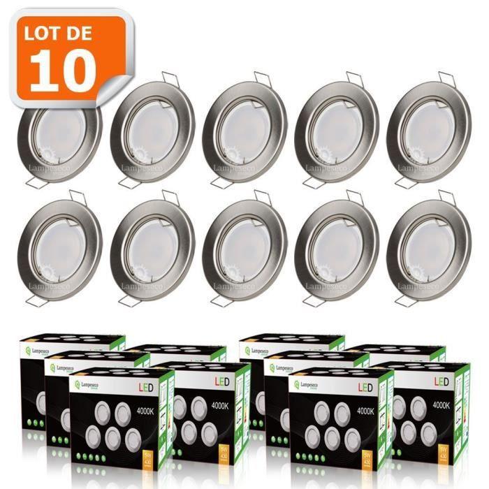LOT DE 10 SPOT LED ENCASTRABLE COMPLETE RONDE FIXE ALU BROSSE eq. 50W BLANC NEUTRE