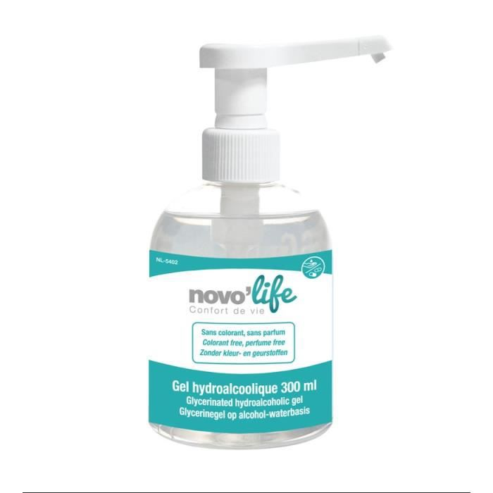Gel hydroalcoolique désinfectant NOVOLIFE - Sans colorant, sans parfum - 300 ml