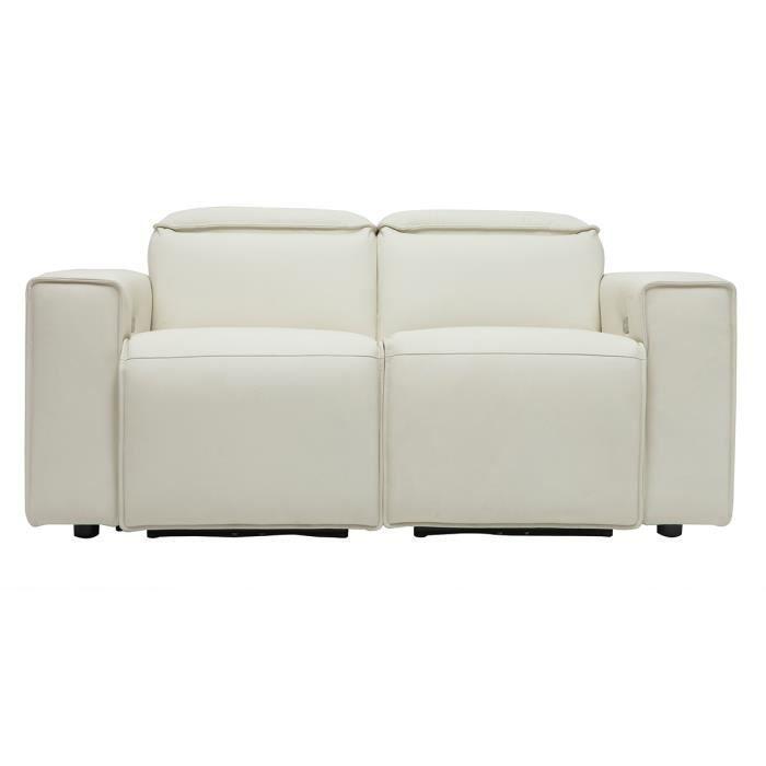Miliboo - Canapé relax électrique en cuir blanc avec têtières ajustables RUIZ
