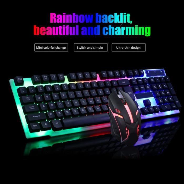 Set de LED Gaming clavier filaire + souris filaire - Professionnel clavier et souris pour gamer - noir