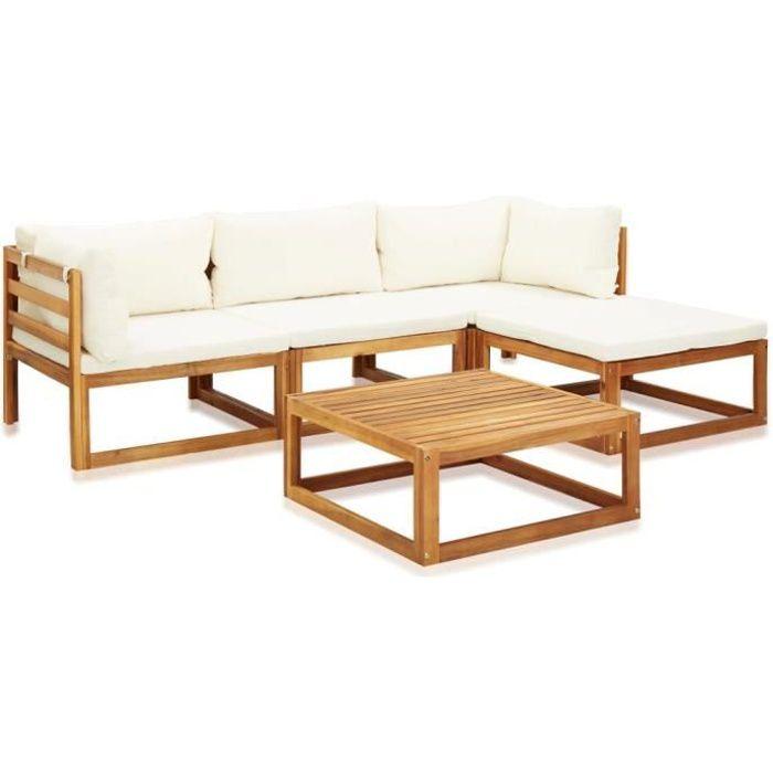 Salon de jardin 5 pcs avec coussins - Mobilier de jardin - Bois d'acacia solide