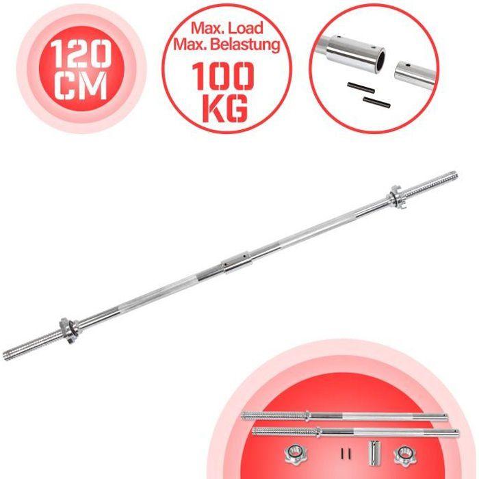 Physionics® Barre d'Haltère Longue - 120 cm, Ø 25 mm, Acier Chromé, 2 Fermoirs, Poignées Antidérapantes - Barre de Musculation