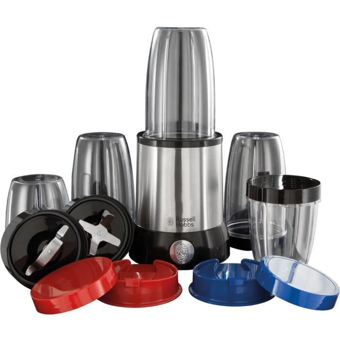 RUSSELL HOBBS 23180-56 Blender Mixeur Nutriboost Compact Multifonctions 700W Inox Brossé, Préparations Vitaminées, 15 Accessoires In