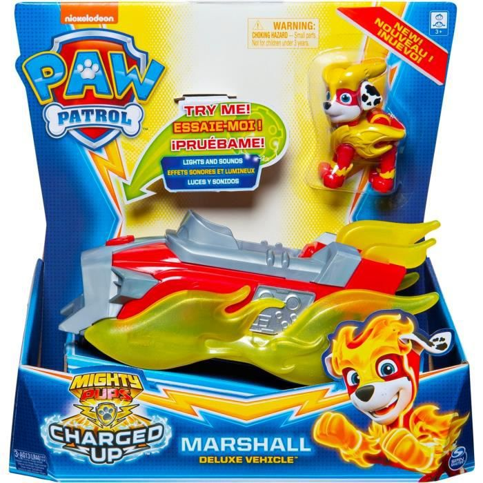 Paw Patrol Véhicule + Figurine Mighty Pups Charged Up - La Pat' Patrouille - Marshall