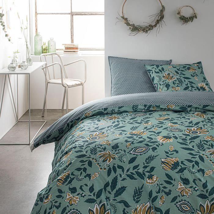Parure de lit 2 personnes 220X240 Coton imprime vert Floral SUNSHINE 5.31