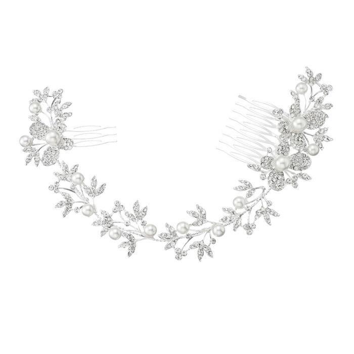 1 pc De Mariée Cheveux Peigne Mariage Chapeaux Strass Fleur Chapeau Perle Synthétique pour Amis Femmes BROSSE MANUELLE - PEIGNE
