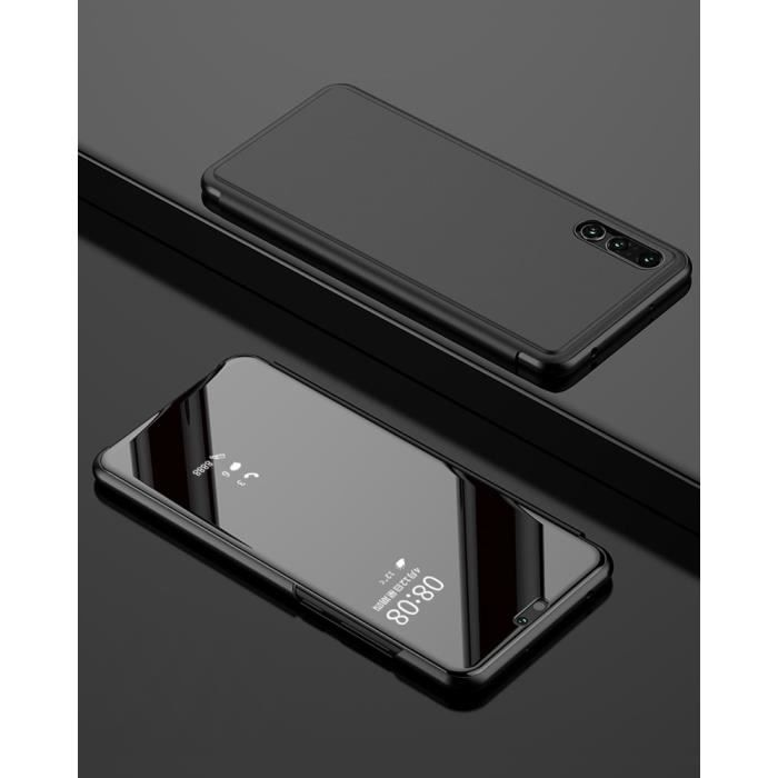 Clear View Mirror Cover Stand Coque pour Huawei P20 Pro - Noir