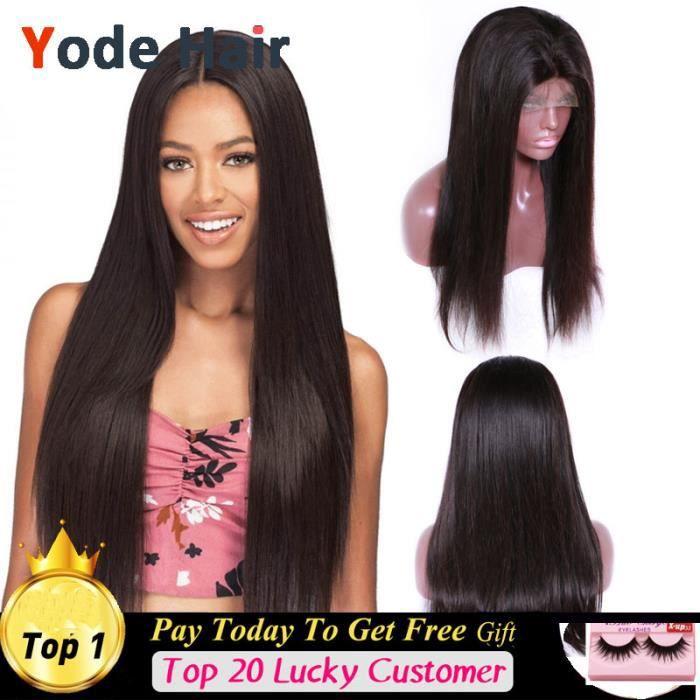 Perruques brésiliennes de densité 150% naturelles cheveux lisses vierges lace front wigs 12pouces