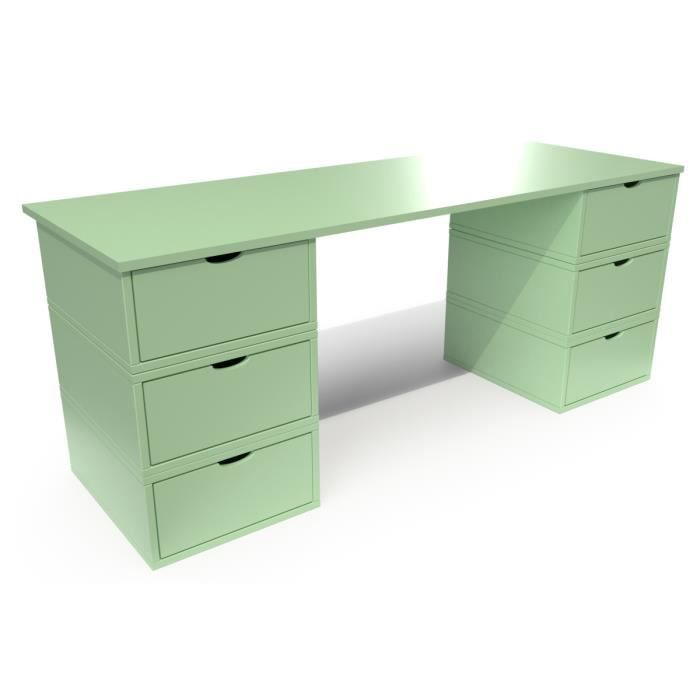 bureau cube long 6 tiroirs vert pastel achat vente chevet bureau cube long 6 tiroirs. Black Bedroom Furniture Sets. Home Design Ideas