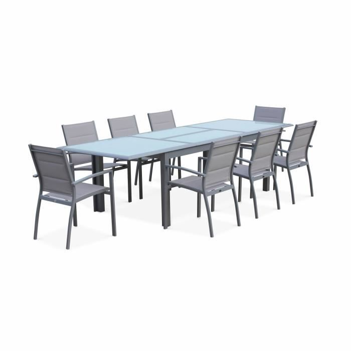 Salon de jardin table extensible - Philadelphie Gris clair - Table ...