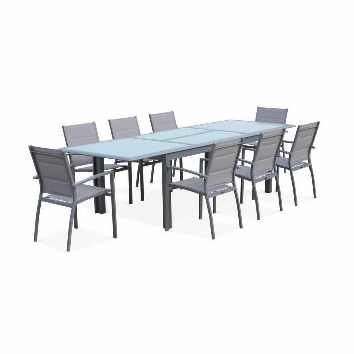 Salon de jardin table extensible - Philadelphie Gris clair - Table en  aluminium 200/300cm, plateau de verre, rallonge et 8