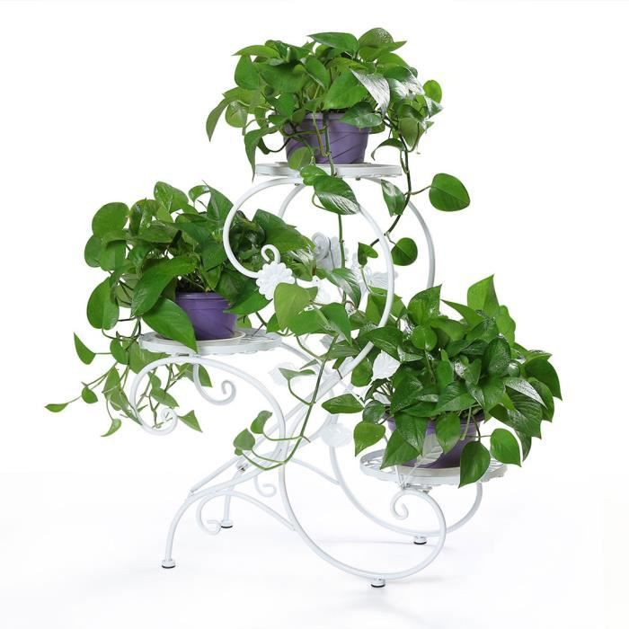 mc0134wh hlc blanc porte pot pots plante fleurs 3 etagere. Black Bedroom Furniture Sets. Home Design Ideas