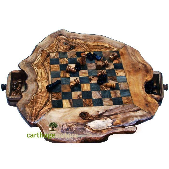 Cadeau Noel pas cher, Jeu d'échecs en bois d'olivier rustique 30
