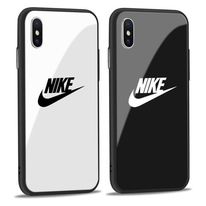 2pcs nike coque iphone x verre blanc noir