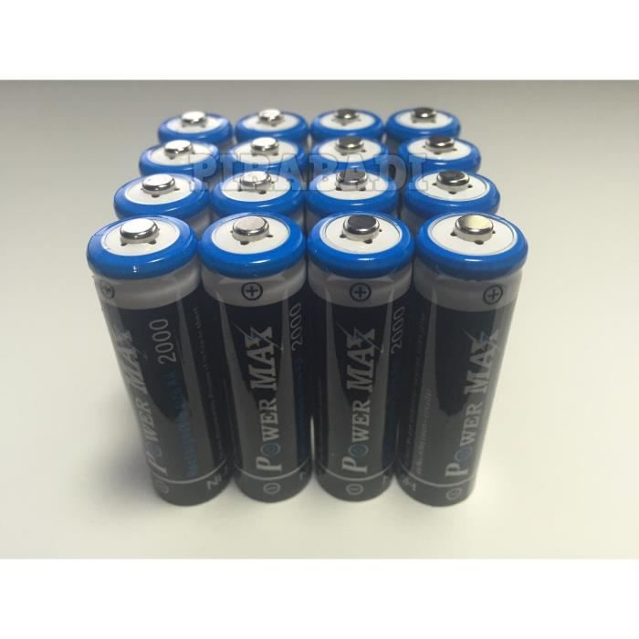 16 piles accus rechargeable aa powermax ni mh 2000 mah - Pile aa rechargeable ...