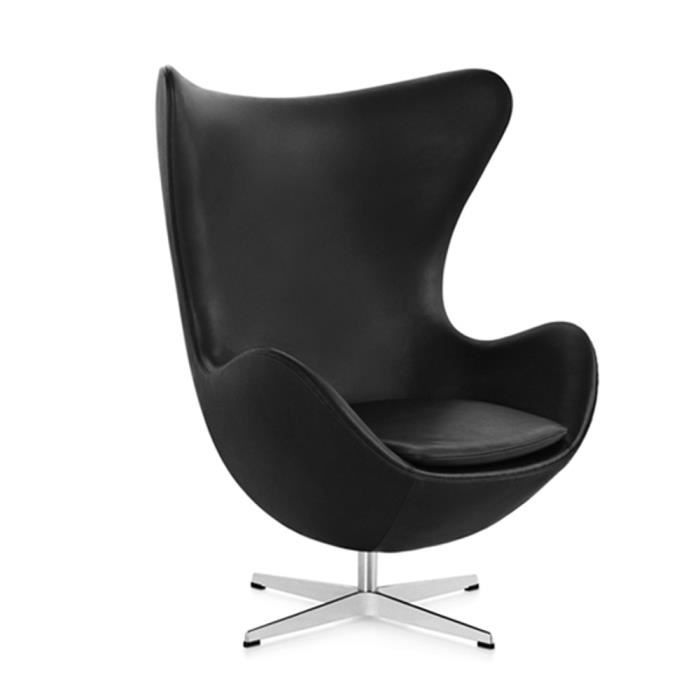 egg chair style arne jacobsen fauteuil design noir achat vente fauteuil noir cdiscount. Black Bedroom Furniture Sets. Home Design Ideas